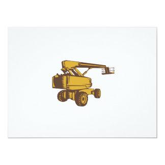 Cherry Picker Mobile Lift Platform Woodcut 17 Cm X 22 Cm Invitation Card