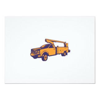 Cherry Picker Mobile Lift Truck Woodcut 17 Cm X 22 Cm Invitation Card