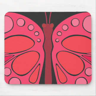 Cherry Pink 60s Butterfly Mouse Pad