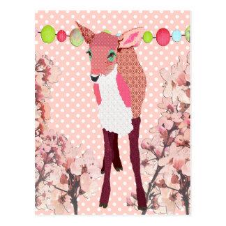 Cherry Pink Fawn Pokadot Postcard