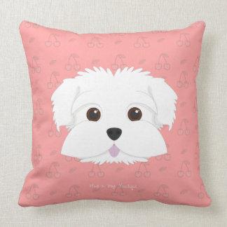 Cherry Pop Maltipoo Puppy Throw Pillow
