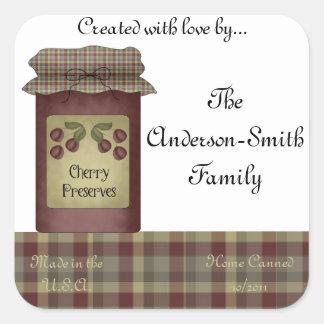 Cherry Preserves Jar Label (Personalize) Square Sticker