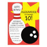 Cherry Red Bowling Bash Bowling Birthday Party Personalised Invitations