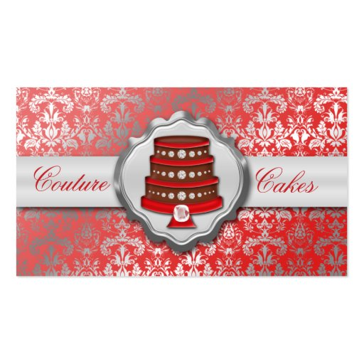 Cherry Red Cake Couture Glitzy Damask Cake Bakery Business Card