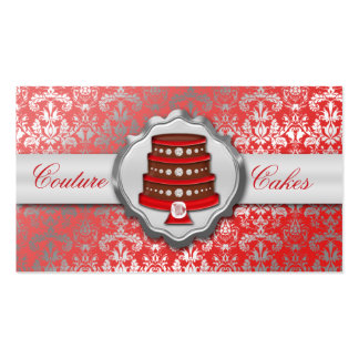 Cherry Red Cake Couture Glitzy Damask Cake Bakery Pack Of Standard Business Cards