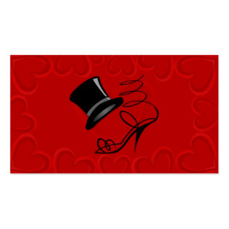 Cherry Red Hearts Top Hat and High Heel Place card Business Card Templates