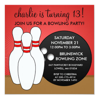 Cherry Red Let's Have a Ball Bowling Party 13 Cm X 13 Cm Square Invitation Card