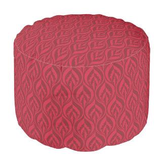 Cherry red modern lux leaf pattern pouf