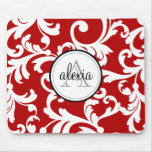 Cherry Red Monogrammed Damask Print Mousepad