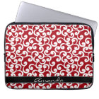 Cherry Red Monogrammed Elements Print Laptop Sleeve