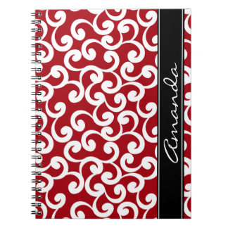 Cherry Red Monogrammed Elements Print Note Book