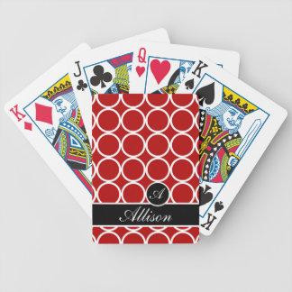 Cherry Red Monogrammed Lexi Print Poker Deck