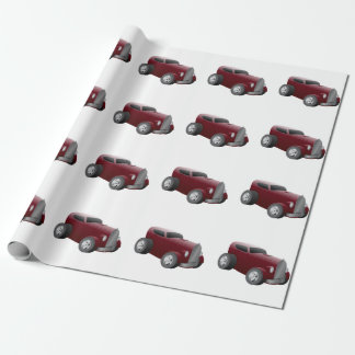 cherry red old hot rod muscle car wrapping paper