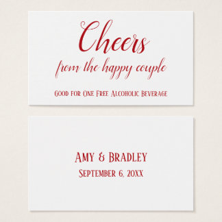 Cherry Red on White Editable Drink Tickets