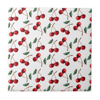 Cherry Red Pattern Ceramic Tile