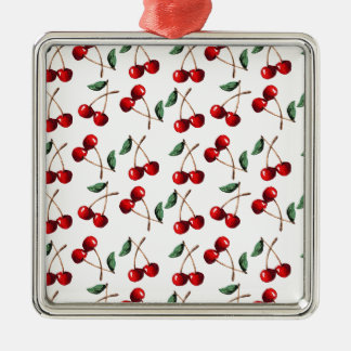 Cherry Red Pattern Metal Ornament