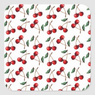 Cherry Red Pattern Square Sticker