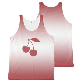Cherry red to white gradient All-Over print singlet