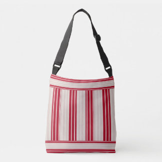 Cherry Red With Off White Stripes Crossbody Bag