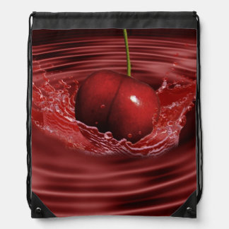 Cherry Ripples Drawstring Backpacks