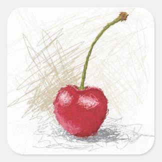 cherry square sticker