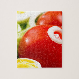 Cherry tomatoes and boiled eggs in a salad jigsaw puzzle