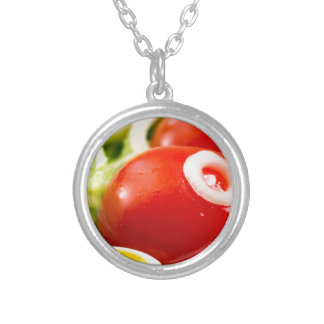 Cherry tomatoes and boiled eggs in a salad silver plated necklace
