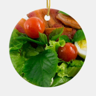 Cherry tomatoes, herbs, olive oil, eggs and bacon ceramic ornament