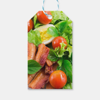 Cherry tomatoes, herbs, olive oil, eggs and bacon gift tags