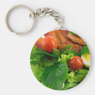 Cherry tomatoes, herbs, olive oil, eggs and bacon key ring