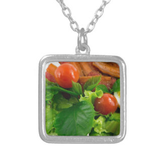 Cherry tomatoes, herbs, olive oil, eggs and bacon silver plated necklace