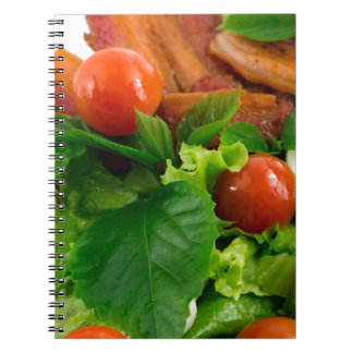 Cherry tomatoes, herbs, olive oil, eggs and bacon spiral notebook
