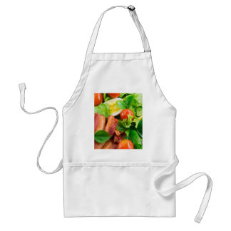 Cherry tomatoes, herbs, olive oil, eggs and bacon standard apron