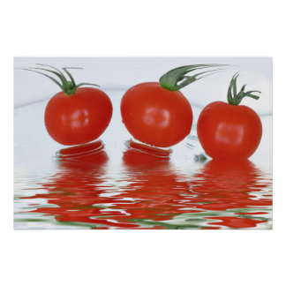 Cherry tomatos in clean fresh water poster
