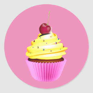 Cherry Topped Cupcake With Yellow Frosting Round Sticker