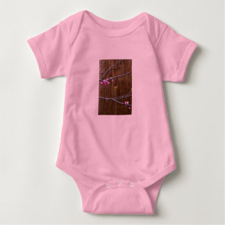 Cherry Tree Blossoms and Wood Pole Baby Pink Baby Bodysuit