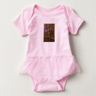 Cherry Tree Blossoms and Wood Pole Baby Ruffle Pnk Baby Bodysuit