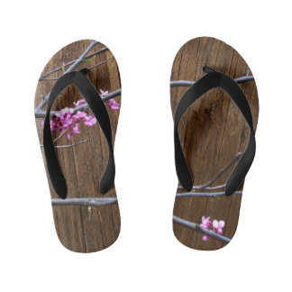 Cherry Tree Blossoms and Wood Pole Flip Flops Kids