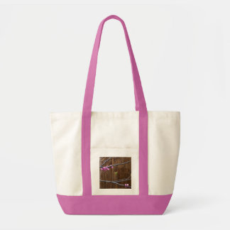 Cherry Tree Blossoms and Wood Pole Large Tote Bag