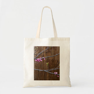 Cherry Tree Blossoms and Wood Pole Small Tote Bag