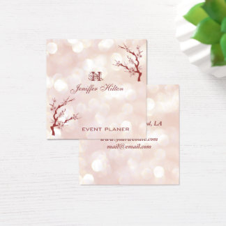 Cherry tree chic bokeh monogram square business card