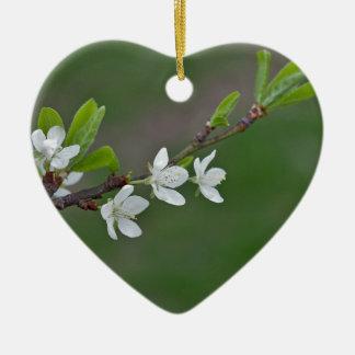 Cherry tree flowers ceramic heart decoration