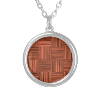 Cherry Wood Parquet Floor Pattern Silver Plated Necklace