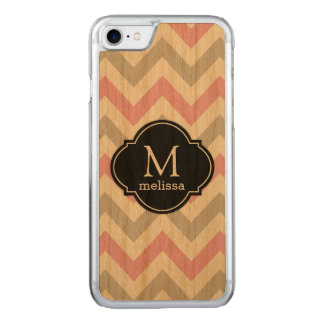 Cherry Wood with Chevron Pattern & Monogram Carved iPhone 8/7 Case