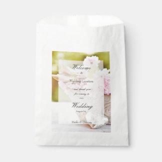 Cherryblossoms pink flowers editable wedding favour bag