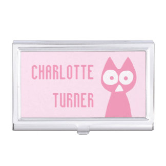 Cherrypink Triangle Symbolic Cat Business Card Holder