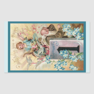 Cherub and Father Time Rectangular Sticker