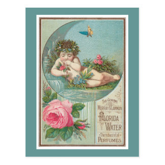 Cherub and Roses Cologne Label Postcard