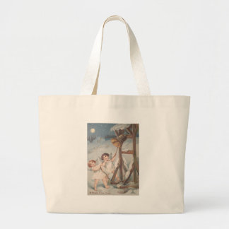 Cherub Angel Bell Snow Full Moon Jumbo Tote Bag