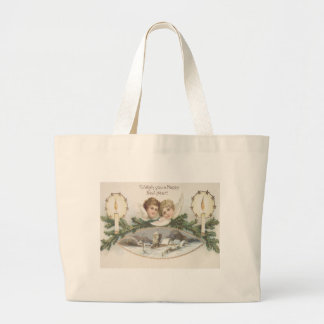 Cherub Angel Candle Evergreen Bough Large Tote Bag